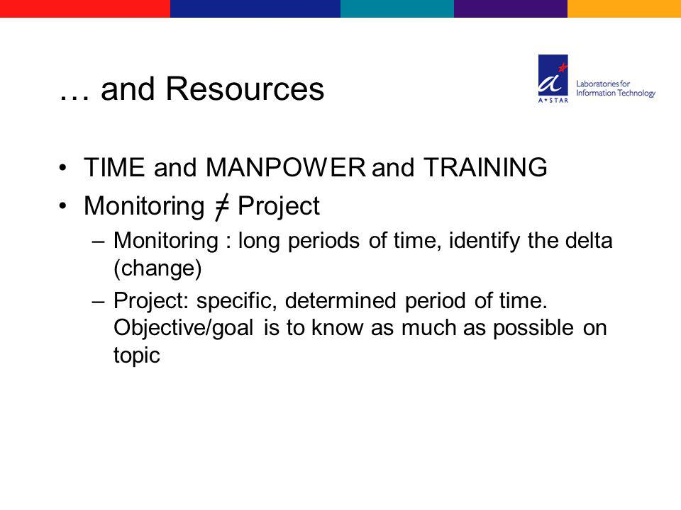 … and Resources TIME and MANPOWER and TRAINING Monitoring = Project –Monitoring : long periods of time, identify the delta (change) –Project: specific, determined period of time.