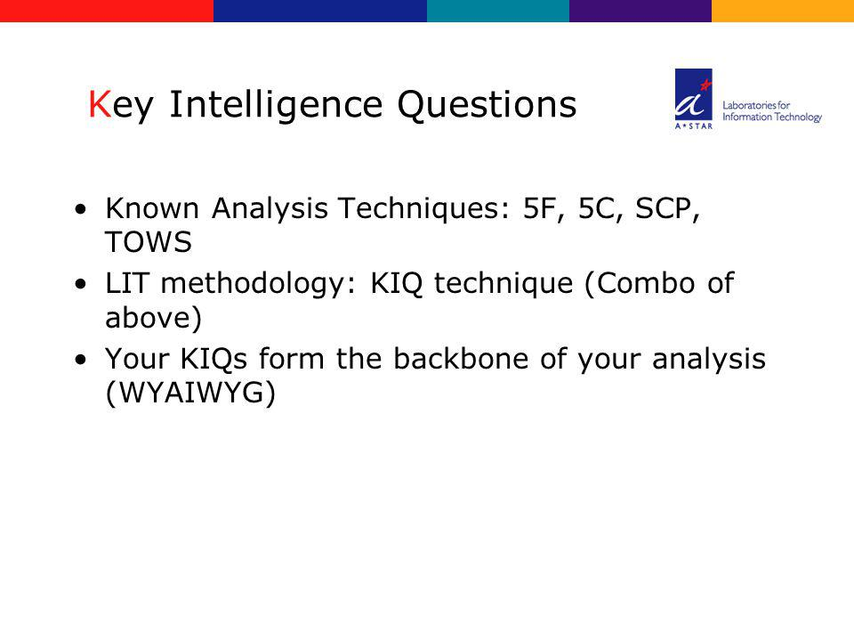 Key Intelligence Questions Known Analysis Techniques: 5F, 5C, SCP, TOWS LIT methodology: KIQ technique (Combo of above) Your KIQs form the backbone of