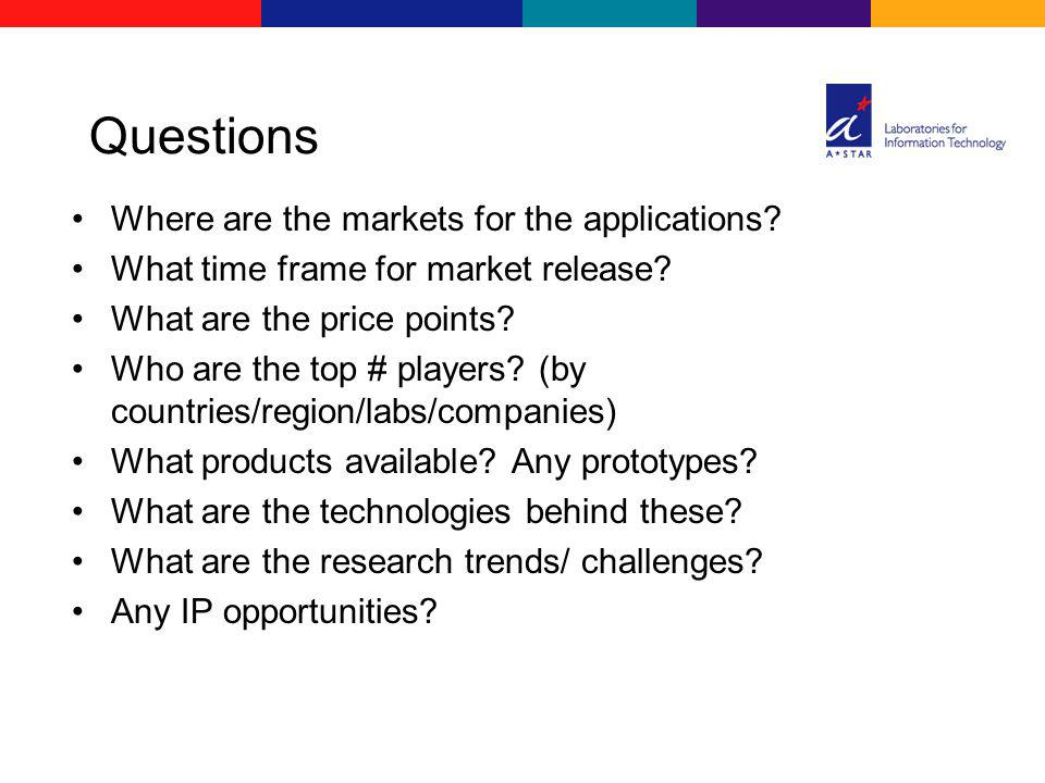 Questions Where are the markets for the applications? What time frame for market release? What are the price points? Who are the top # players? (by co
