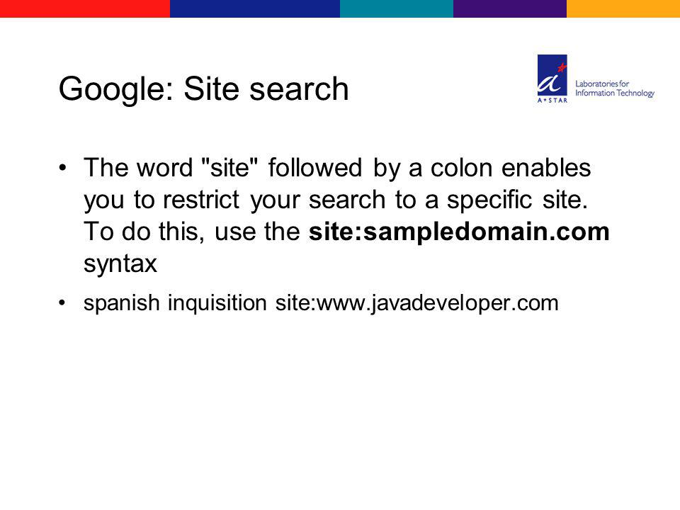 Google: Site search The word