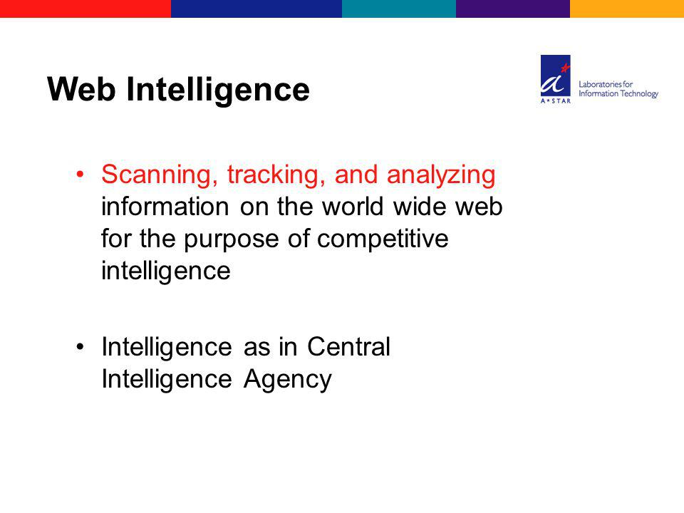 Scanning, tracking, and analyzing information on the world wide web for the purpose of competitive intelligence Intelligence as in Central Intelligence Agency Web Intelligence