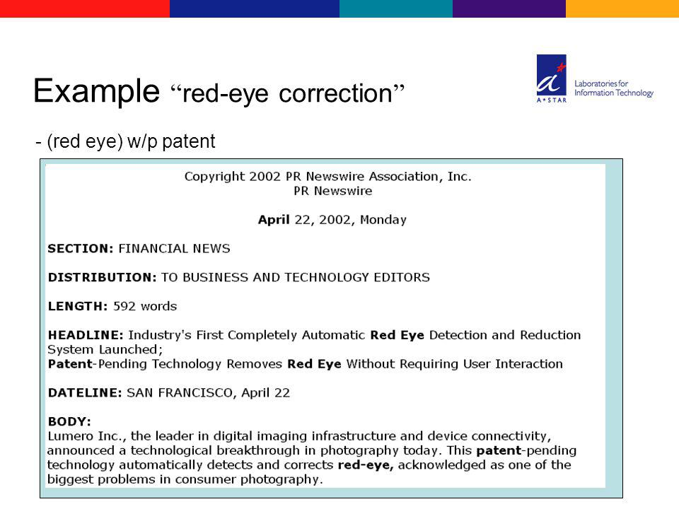 - (red eye) w/p patent Example red-eye correction
