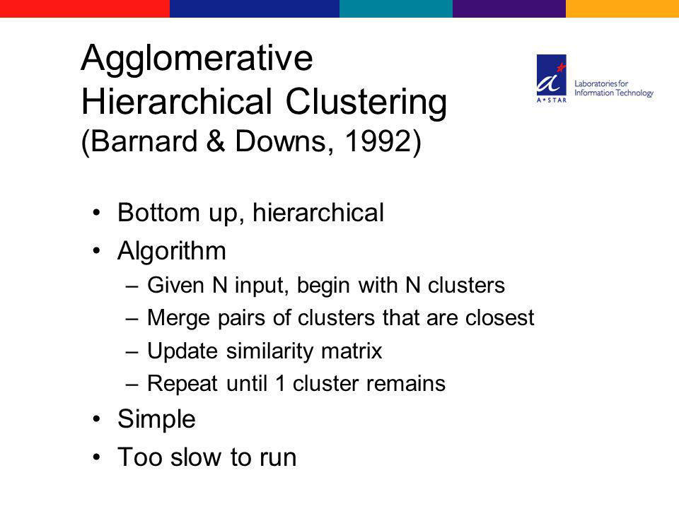 Bottom up, hierarchical Algorithm –Given N input, begin with N clusters –Merge pairs of clusters that are closest –Update similarity matrix –Repeat un