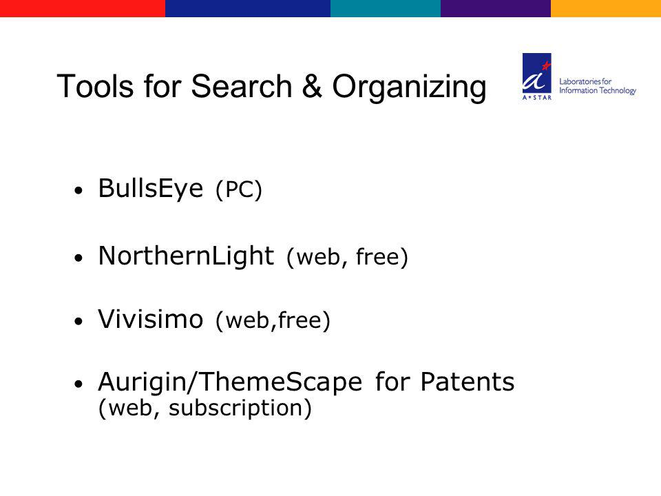 Tools for Search & Organizing BullsEye (PC) NorthernLight (web, free) Vivisimo (web,free) Aurigin/ThemeScape for Patents (web, subscription)