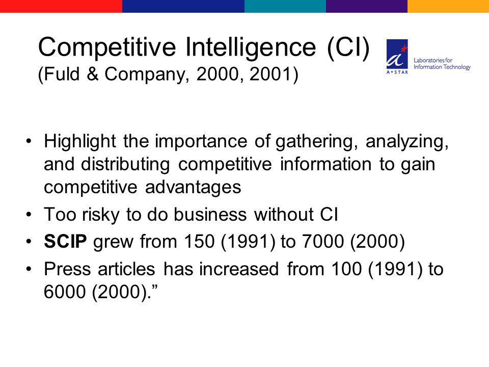 Highlight the importance of gathering, analyzing, and distributing competitive information to gain competitive advantages Too risky to do business without CI SCIP grew from 150 (1991) to 7000 (2000) Press articles has increased from 100 (1991) to 6000 (2000).