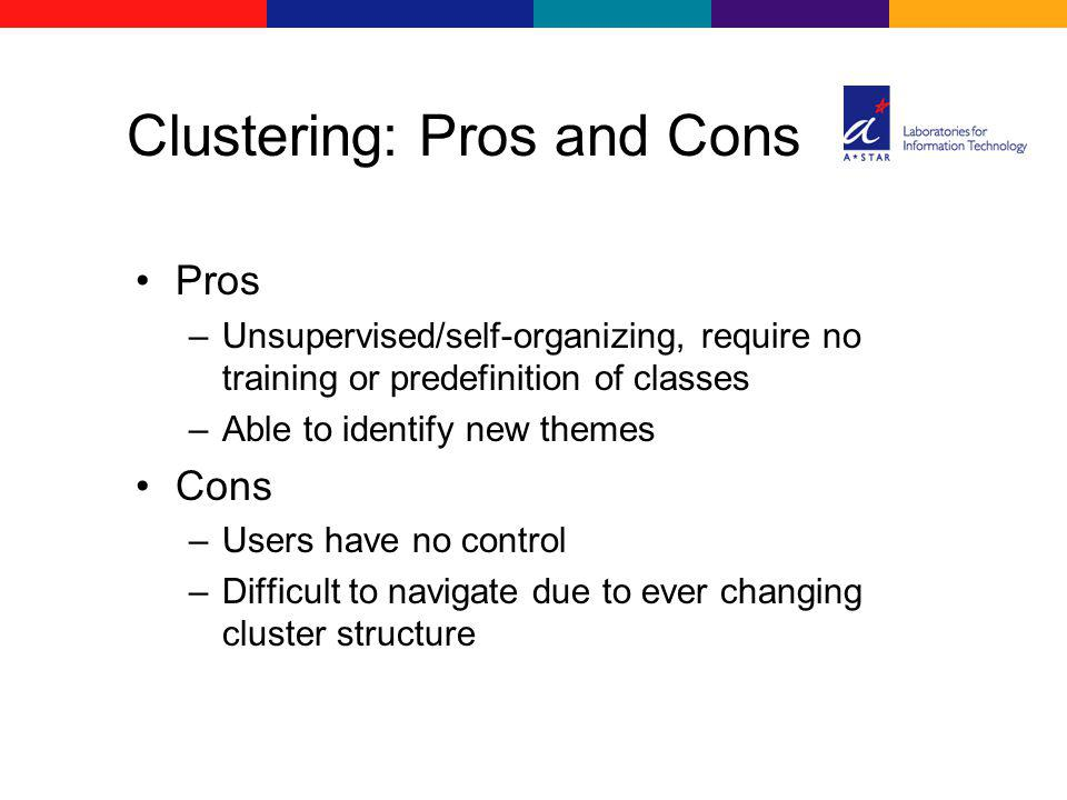 Pros –Unsupervised/self-organizing, require no training or predefinition of classes –Able to identify new themes Cons –Users have no control –Difficul