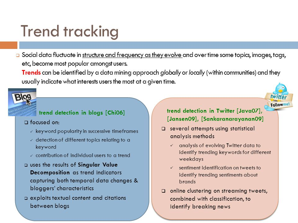 Trend tracking Social data fluctuate in structure and frequency as they evolve and over time some topics, images, tags, etc, become most popular among