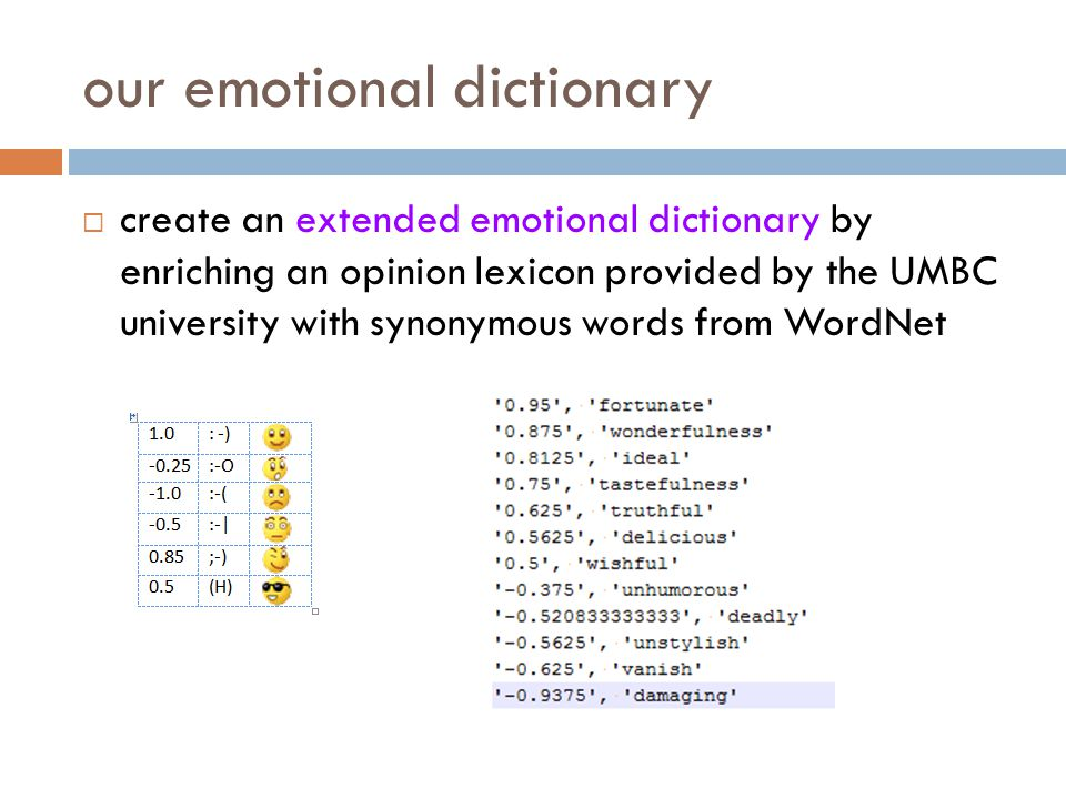 our emotional dictionary create an extended emotional dictionary by enriching an opinion lexicon provided by the UMBC university with synonymous words