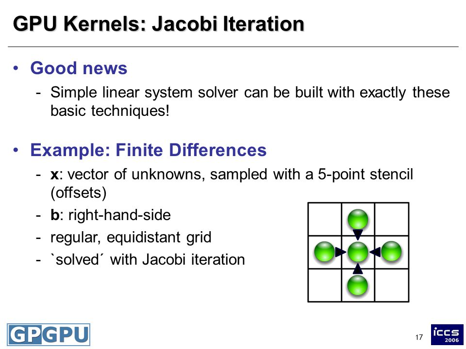 17 GPU Kernels: Jacobi Iteration Good news -Simple linear system solver can be built with exactly these basic techniques.