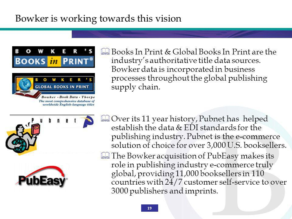 19 Bowker is working towards this vision Books In Print & Global Books In Print are the industrys authoritative title data sources.