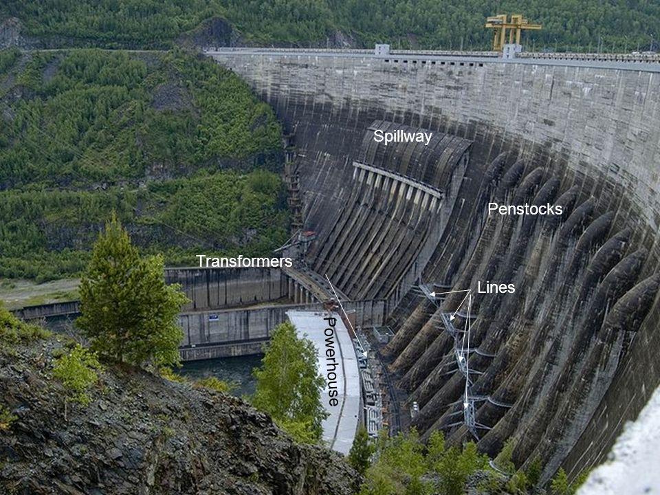 Penstocks Lines Spillway Powerhouse Transformers