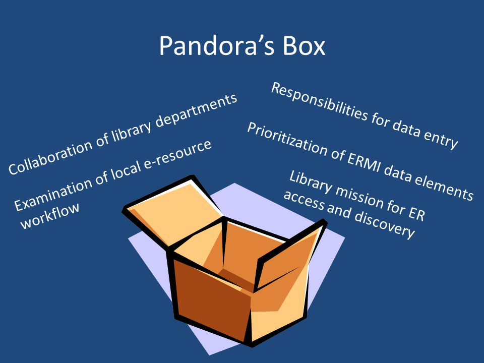 Pandoras Box Examination of local e-resource workflow Collaboration of library departments Prioritization of ERMI data elements Library mission for ER