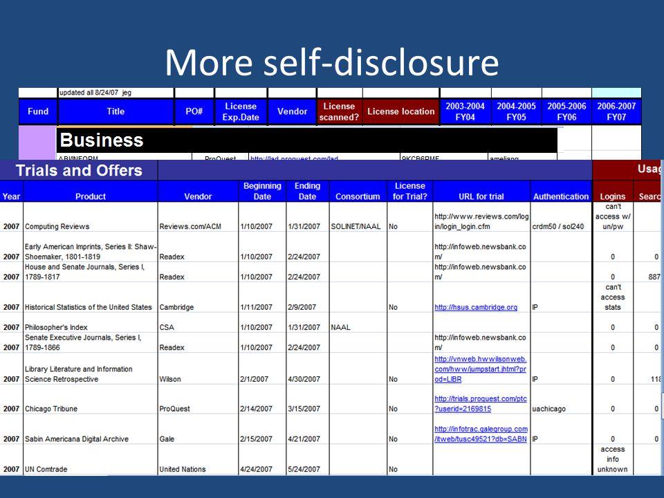 More self-disclosure