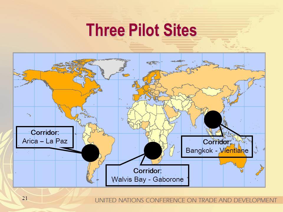 21 Three Pilot Sites Corridor: Walvis Bay - Gaborone Corridor: Arica – La Paz Corridor: Bangkok - Vientiane