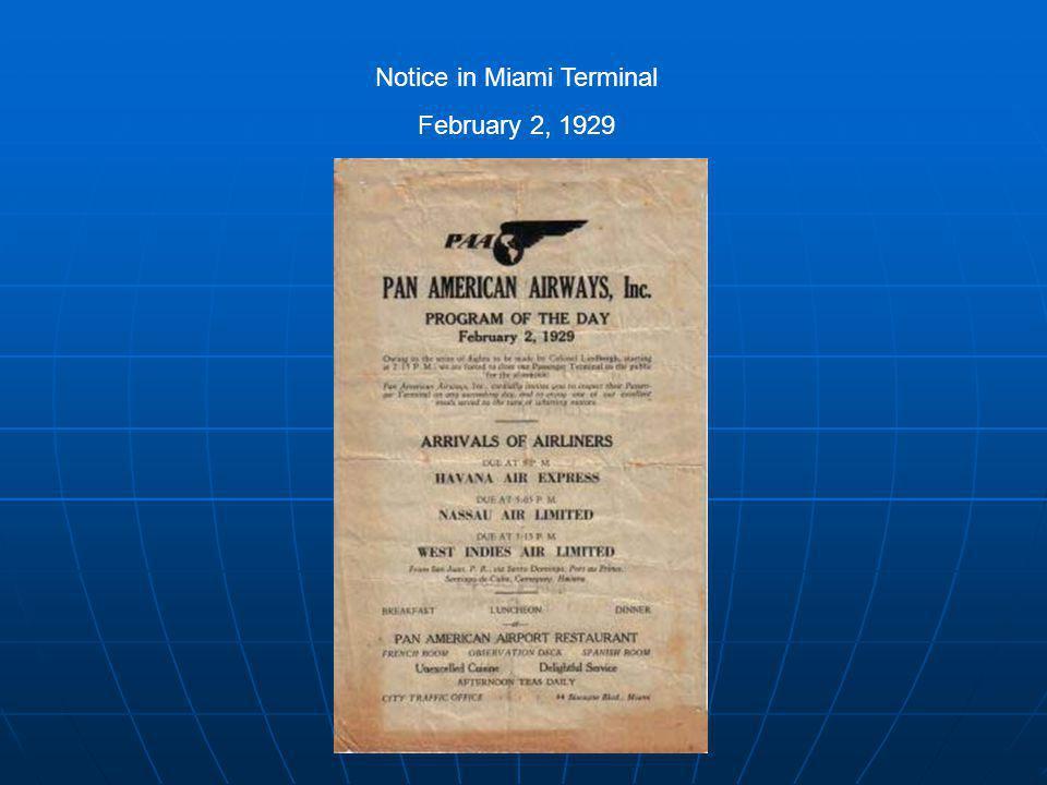 Notice in Miami Terminal February 2, 1929