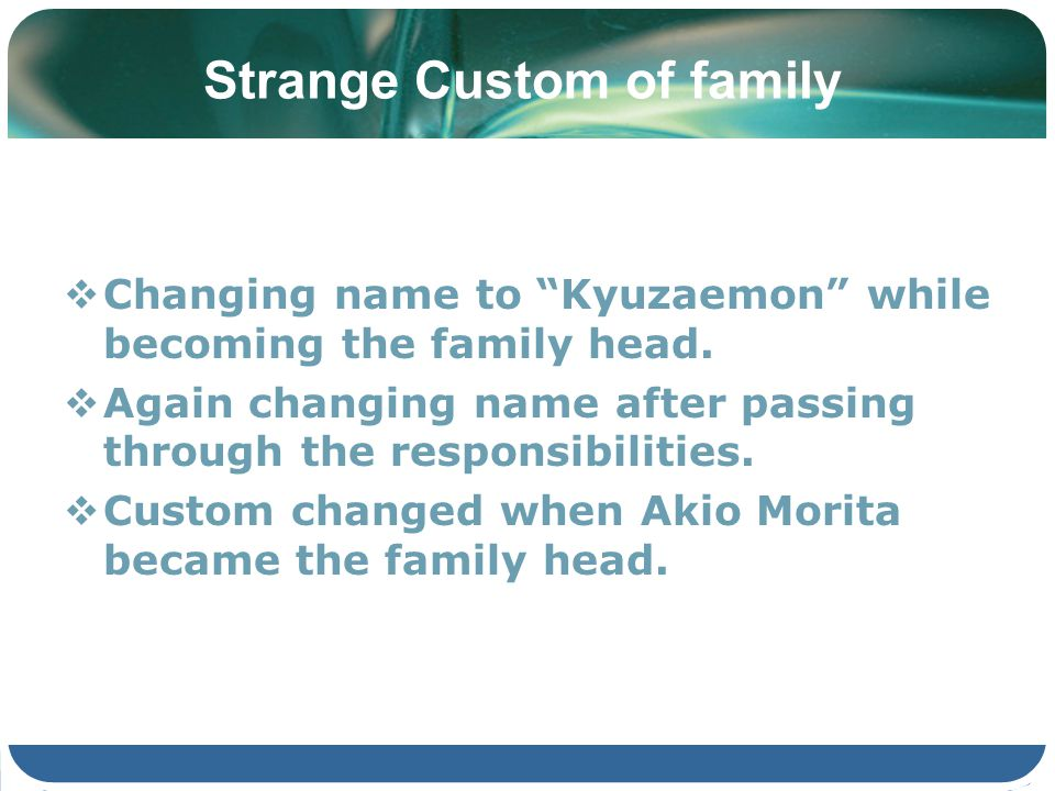 Strange Custom of family Changing name to Kyuzaemon while becoming the family head. Again changing name after passing through the responsibilities. Cu