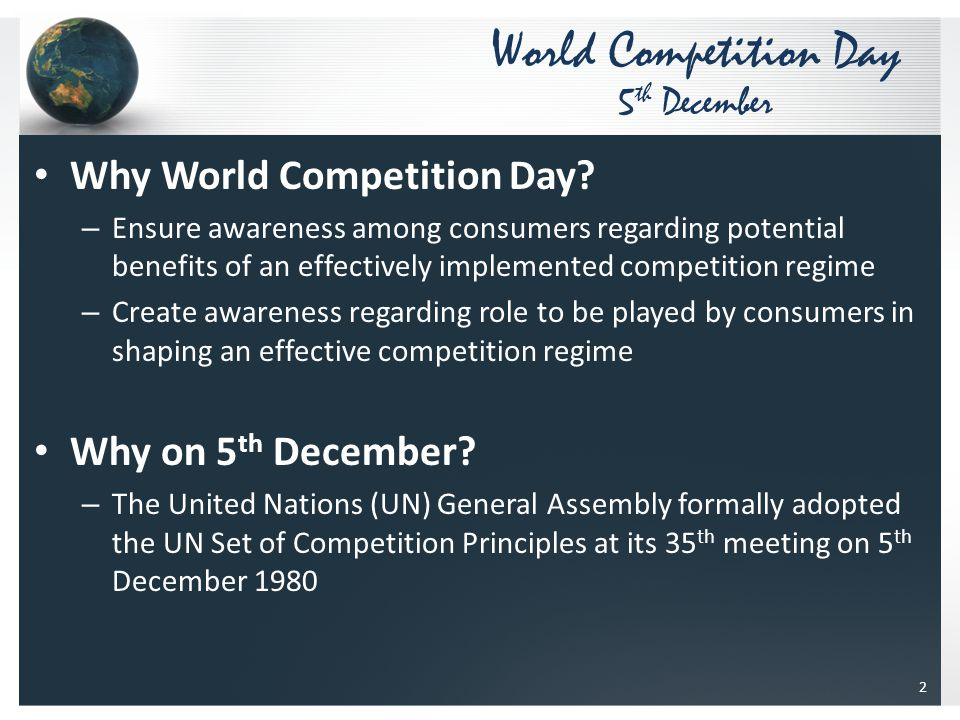 Why World Competition Day.