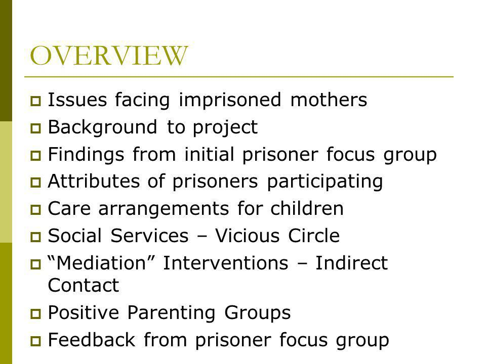 OVERVIEW Issues facing imprisoned mothers Background to project Findings from initial prisoner focus group Attributes of prisoners participating Care arrangements for children Social Services – Vicious Circle Mediation Interventions – Indirect Contact Positive Parenting Groups Feedback from prisoner focus group