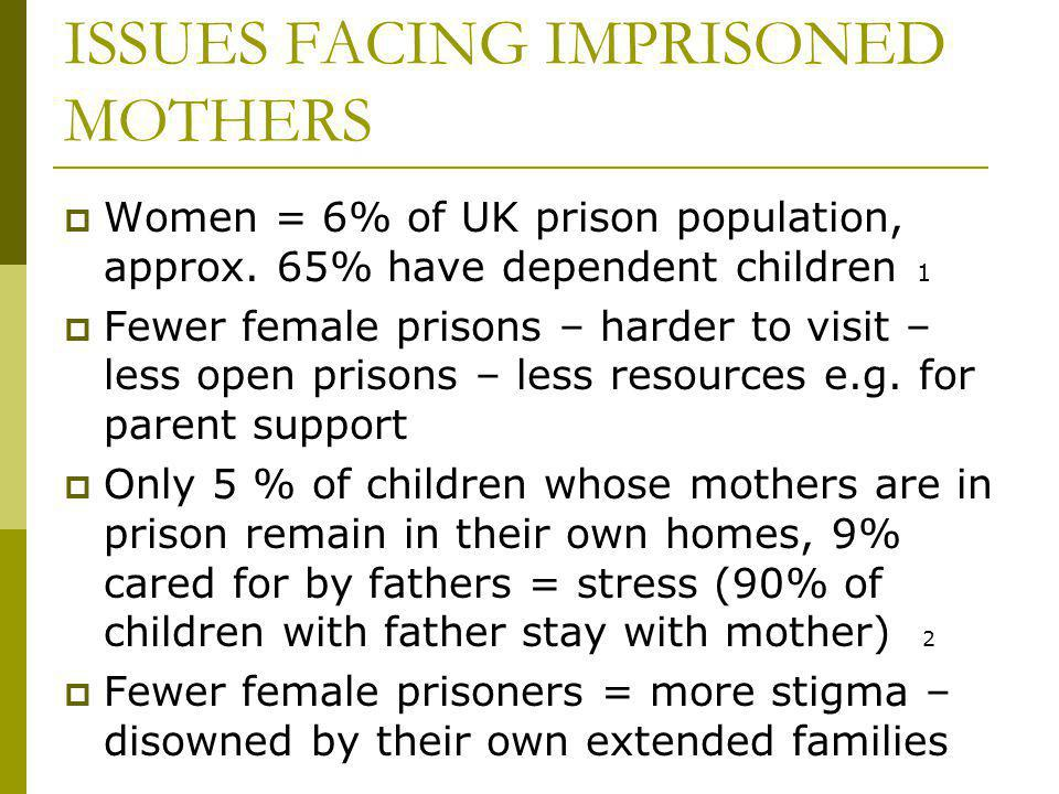 ISSUES FACING IMPRISONED MOTHERS Women = 6% of UK prison population, approx.