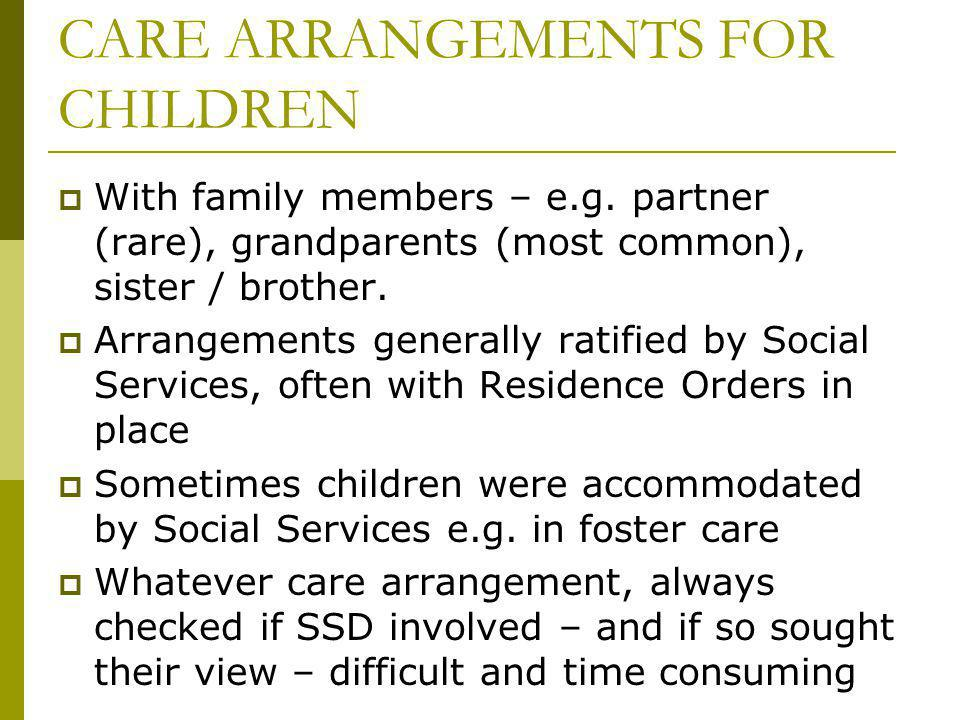 CARE ARRANGEMENTS FOR CHILDREN With family members – e.g.
