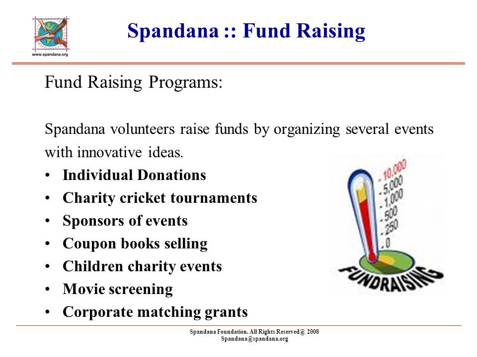 Spandana Foundation. All Rights Reserved@ 2008 Spandana@spandana.org Spandana :: Fund Raising Fund Raising Programs: Spandana volunteers raise funds b