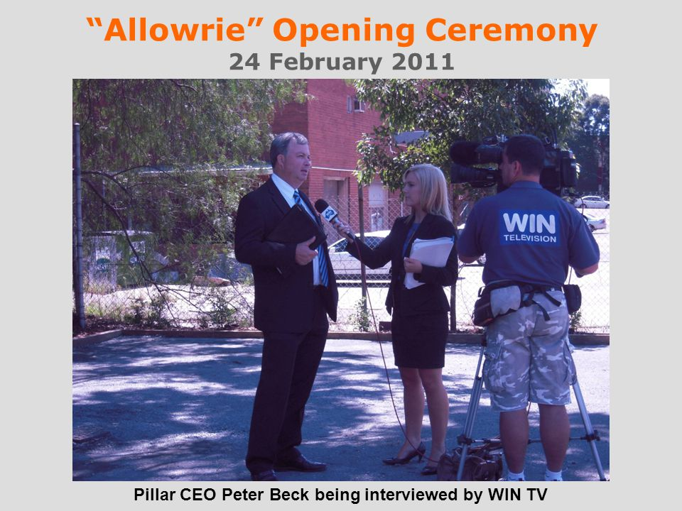Allowrie Opening Ceremony 24 February 2011 Pillar CEO Peter Beck being interviewed by WIN TV