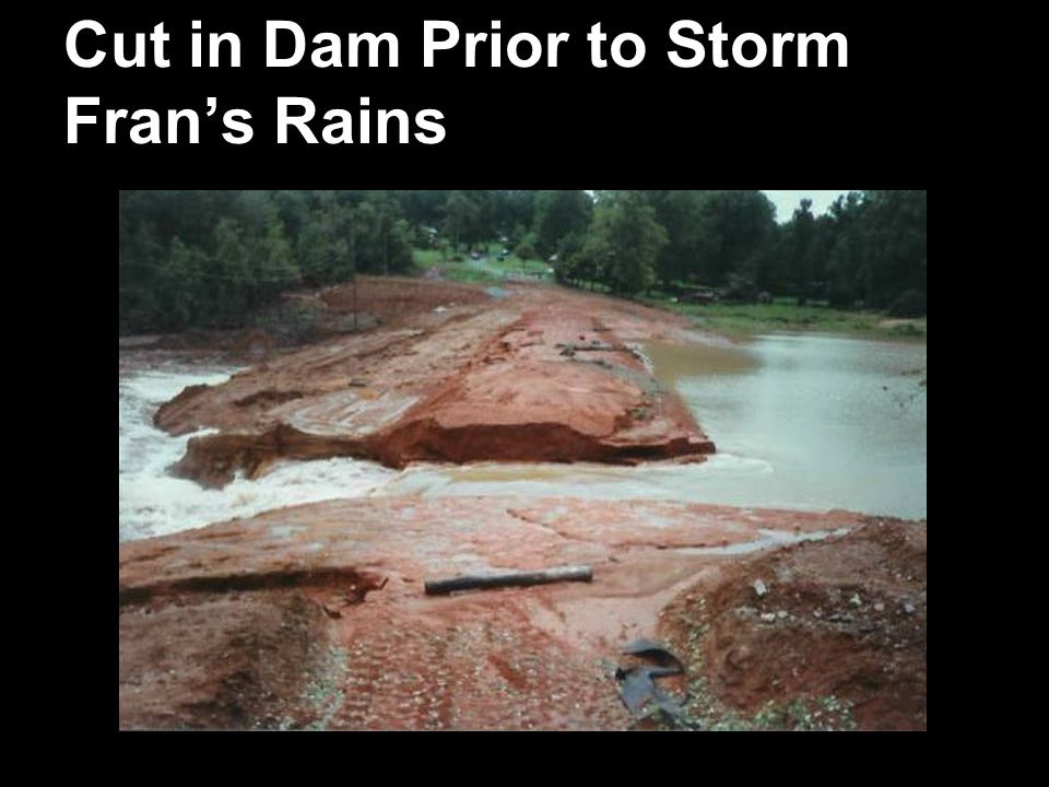 Cut in Dam Prior to Storm Frans Rains