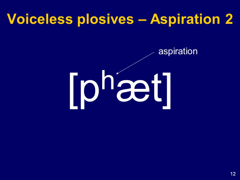 12 Voiceless plosives – Aspiration 2 [p h æt] aspiration