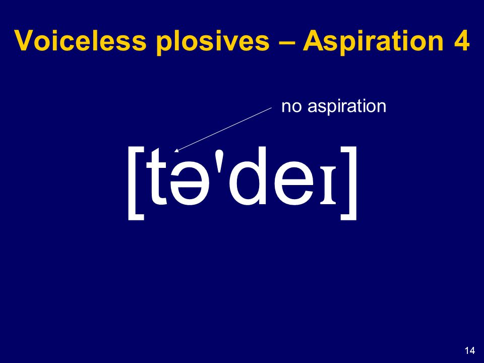 14 Voiceless plosives – Aspiration 4 [tə ' de ɪ ] no aspiration
