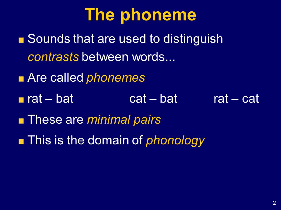 2 The phoneme Sounds that are used to distinguish contrasts between words... Are called phonemes rat – batcat – batrat – cat These are minimal pairs T