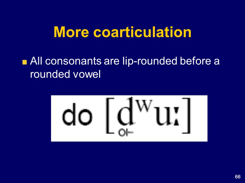 66 More coarticulation All consonants are lip-rounded before a rounded vowel