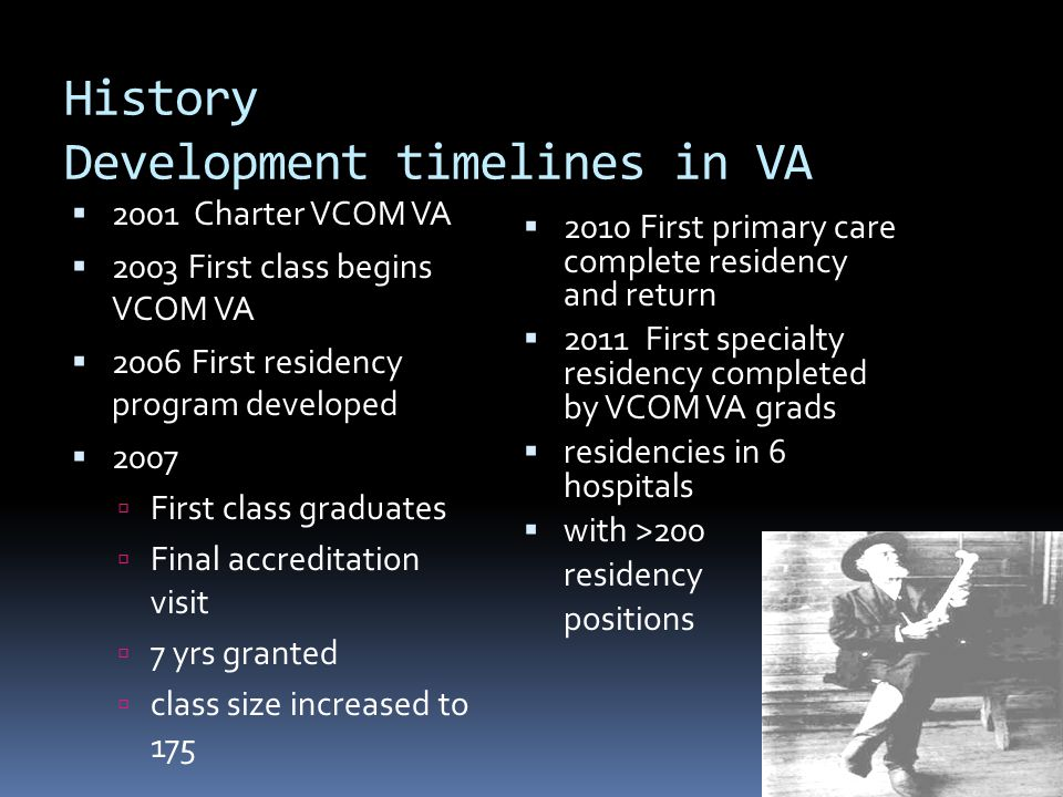 History Development timelines in VA 2001 Charter VCOM VA 2003 First class begins VCOM VA 2006 First residency program developed 2007 First class gradu