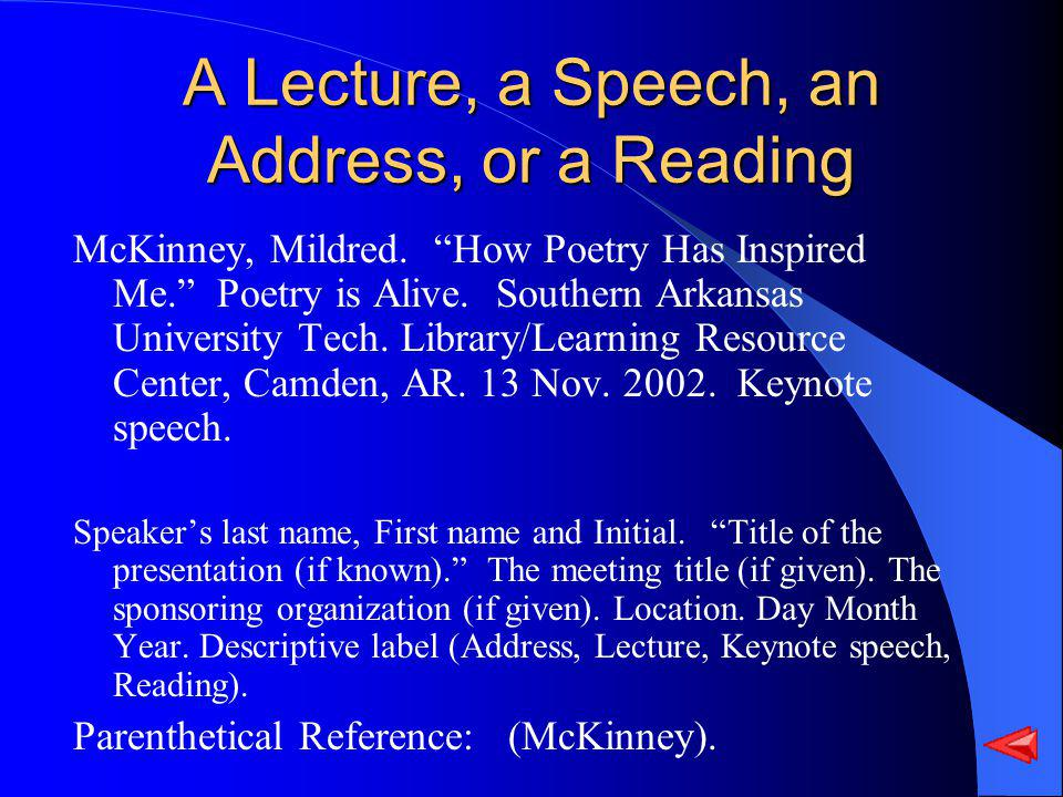 A Lecture, a Speech, an Address, or a Reading McKinney, Mildred.