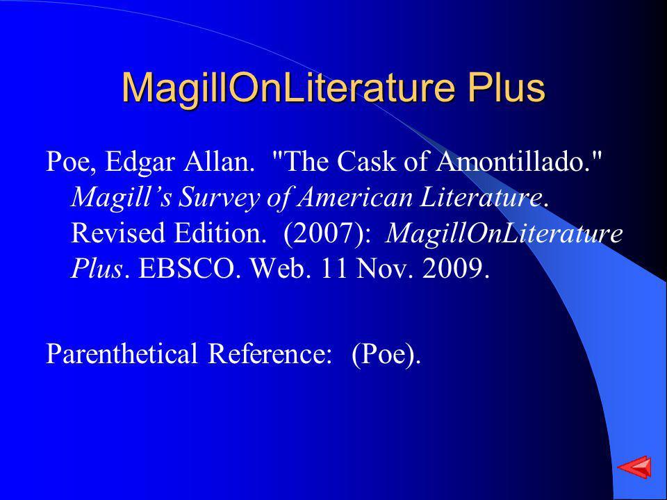 MagillOnLiterature Plus Poe, Edgar Allan.