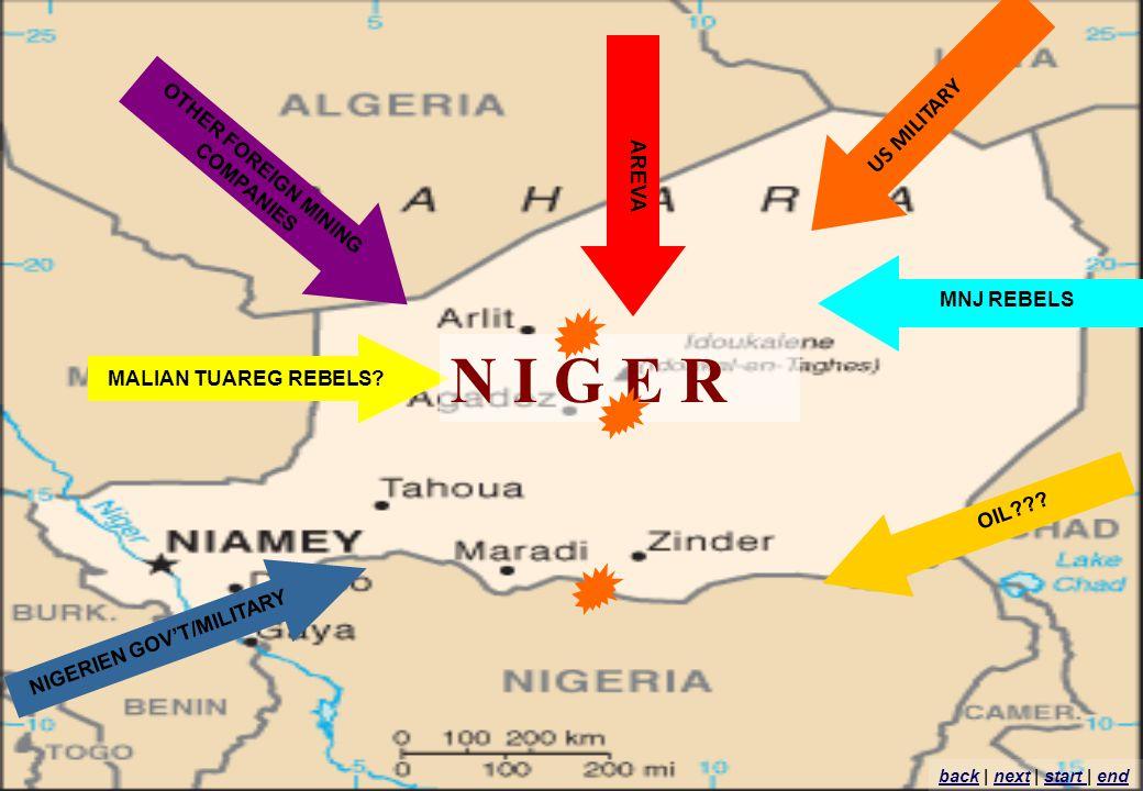 MALIAN TUAREG REBELS? AREVA OTHER FOREIGN MINING COMPANIES MNJ REBELS NIGERIEN GOVT/MILITARY OIL??? US MILITARY N I G E R backback | next | start | en