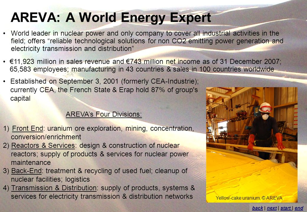 AREVA: A World Energy Expert World leader in nuclear power and only company to cover all industrial activities in the field; offers reliable technological solutions for non CO2 emitting power generation and electricity transmission and distribution 1)Front End: uranium ore exploration, mining, concentration, conversion/enrichment 2) Reactors & Services: design & construction of nuclear reactors; supply of products & services for nuclear power maintenance 3) Back-End: treatment & recycling of used fuel; cleanup of nuclear facilities; logistics 4) Transmission & Distribution: supply of products, systems & services for electricity transmission & distribution networks 11,923 million in sales revenue and 743 million net income as of 31 December 2007; 65,583 employees; manufacturing in 43 countries & sales in 100 countries worldwide AREVAs Four Divisions: Established on September 3, 2001 (formerly CEA-Industrie); currently CEA, the French State & Erap hold 87% of group s capital backback | next | start | endnextstart end Yellow-cake uranium, © AREVA