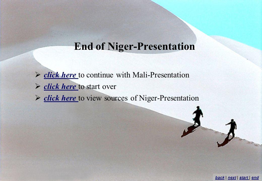End of Niger-Presentation click here to continue with Mali-Presentation click here click here to start over click here click here to view sources of Niger-Presentation click here backback | next | start | endnextstart end