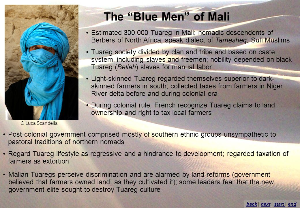 The Blue Men of Mali Estimated 300,000 Tuareg in Mali; nomadic descendents of Berbers of North Africa; speak dialect of Tamesheq; Sufi Muslims Tuareg