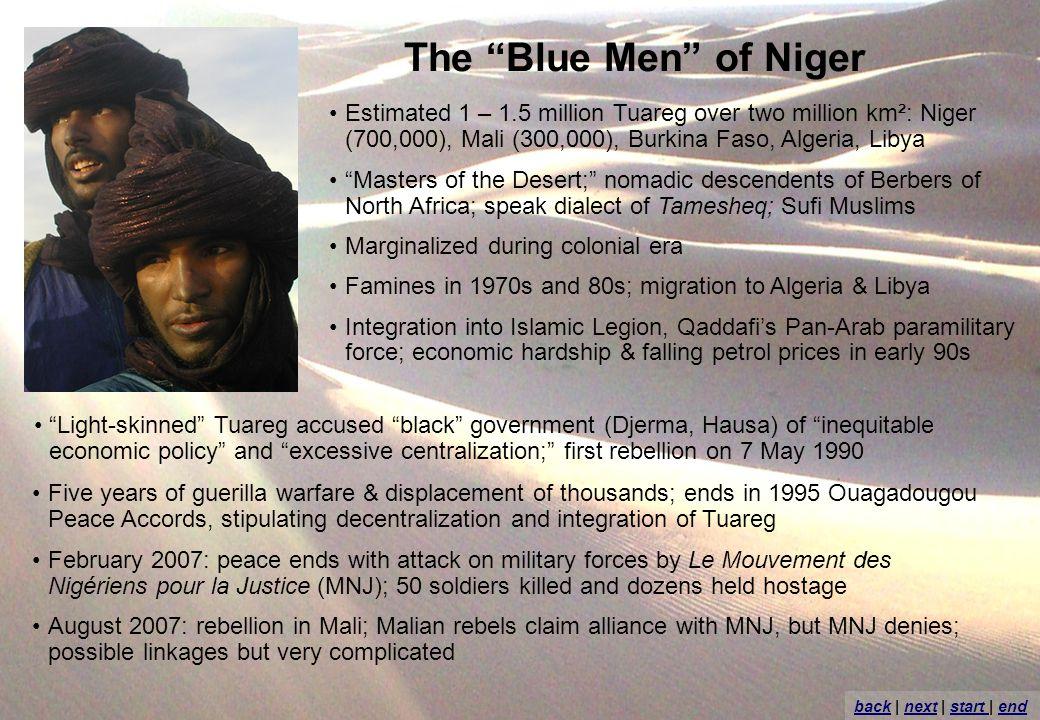 The Blue Men of Niger Estimated 1 – 1.5 million Tuareg over two million km²: Niger (700,000), Mali (300,000), Burkina Faso, Algeria, Libya Masters of