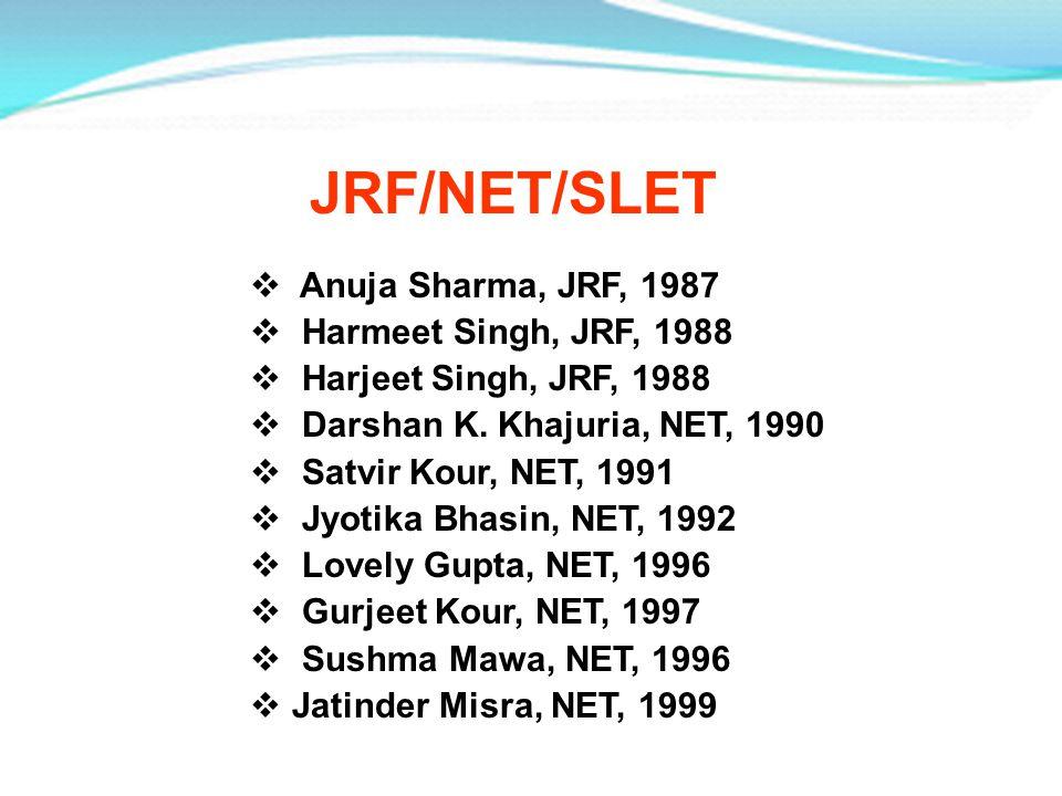 JRF/NET/SLET Anuja Sharma, JRF, 1987 Harmeet Singh, JRF, 1988 Harjeet Singh, JRF, 1988 Darshan K. Khajuria, NET, 1990 Satvir Kour, NET, 1991 Jyotika B