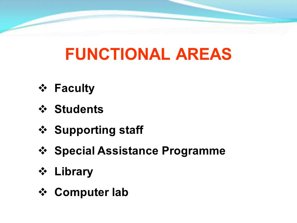 FUNCTIONAL AREAS Faculty Students Supporting staff Special Assistance Programme Library Computer lab