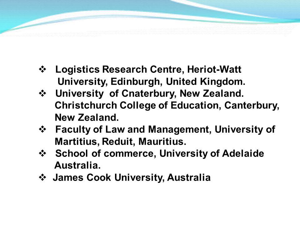Logistics Research Centre, Heriot-Watt University, Edinburgh, United Kingdom. University of Cnaterbury, New Zealand. Christchurch College of Education