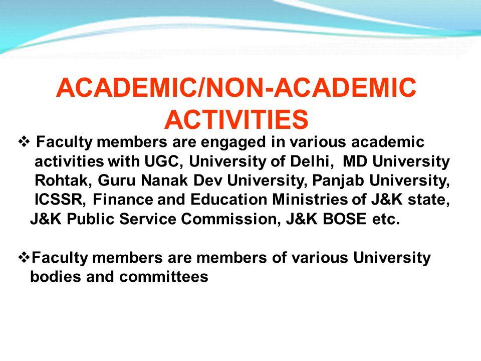 Faculty members are engaged in various academic activities with UGC, University of Delhi, MD University Rohtak, Guru Nanak Dev University, Panjab Univ