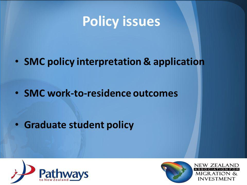 Responses to SMC Need to refocus emphasis of SMC points to deliver effective outcomes for migrants in the current environment Suggestion to place greater emphasis on applicants who have: – the ability to be financially self supportive – immediate family in NZ