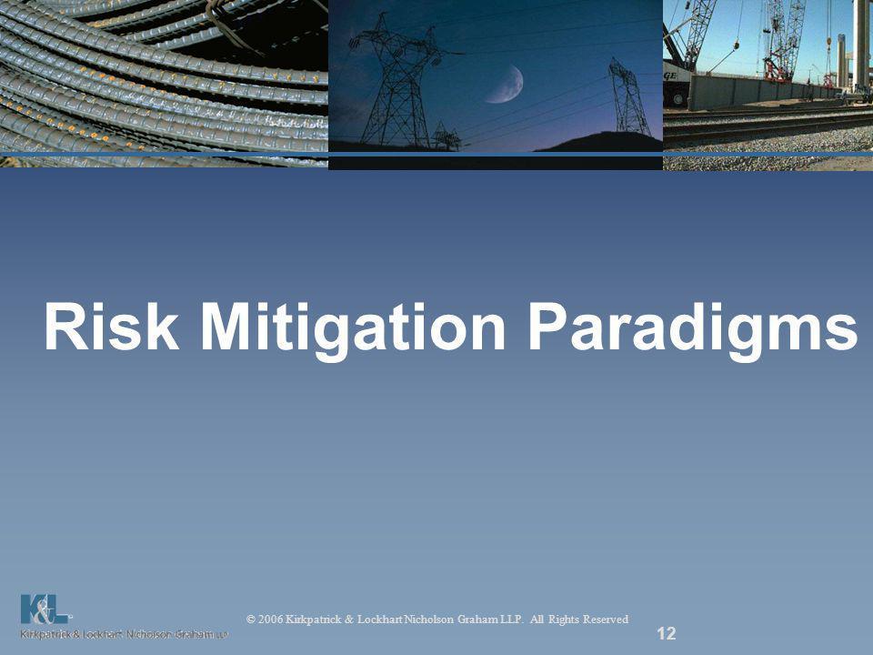 © 2006 Kirkpatrick & Lockhart Nicholson Graham LLP. All Rights Reserved 12 Risk Mitigation Paradigms