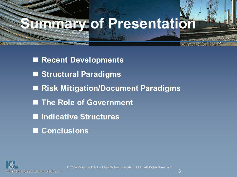 © 2006 Kirkpatrick & Lockhart Nicholson Graham LLP. All Rights Reserved 3 Summary of Presentation Recent Developments Structural Paradigms Risk Mitiga