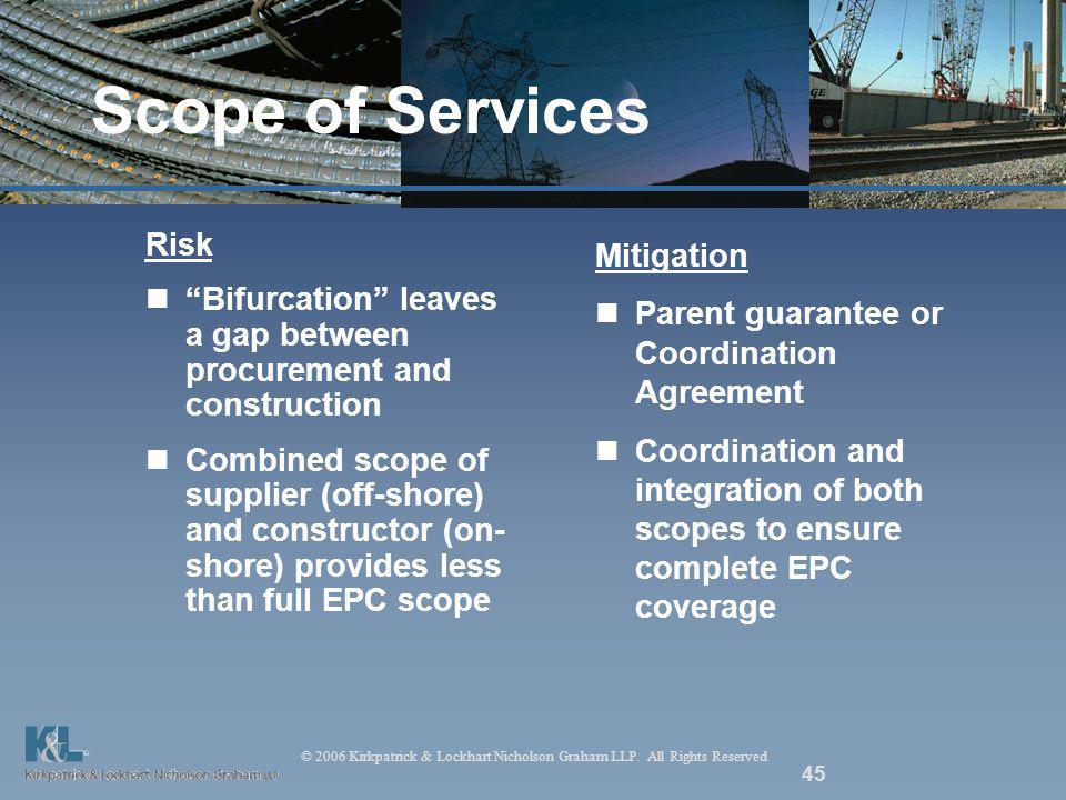© 2006 Kirkpatrick & Lockhart Nicholson Graham LLP. All Rights Reserved 45 Scope of Services Risk Bifurcation leaves a gap between procurement and con