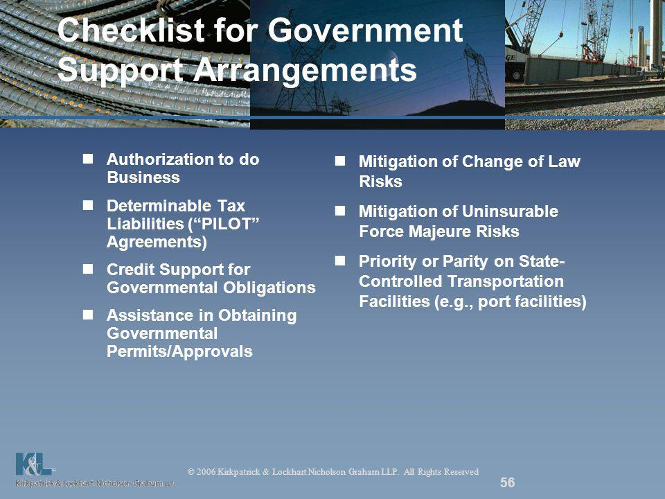 © 2006 Kirkpatrick & Lockhart Nicholson Graham LLP. All Rights Reserved 56 Checklist for Government Support Arrangements Authorization to do Business