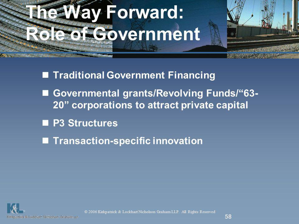 © 2006 Kirkpatrick & Lockhart Nicholson Graham LLP. All Rights Reserved 58 The Way Forward: Role of Government Traditional Government Financing Govern