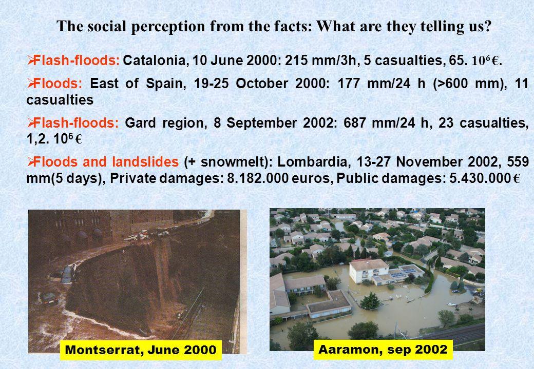 Flash-floods: Catalonia, 10 June 2000: 215 mm/3h, 5 casualties, 65. 10 6. Floods: East of Spain, 19-25 October 2000: 177 mm/24 h (>600 mm), 11 casualt